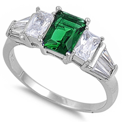 Emerald & Cz .925 Sterling Silver Ring Sizes 5-9