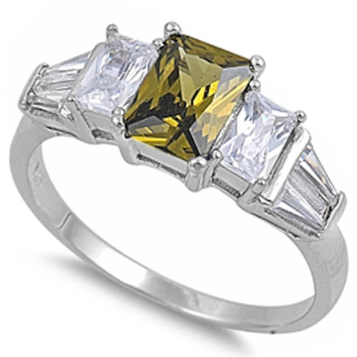 Peridot & Cz .925 Sterling Silver Ring Sizes 5-9