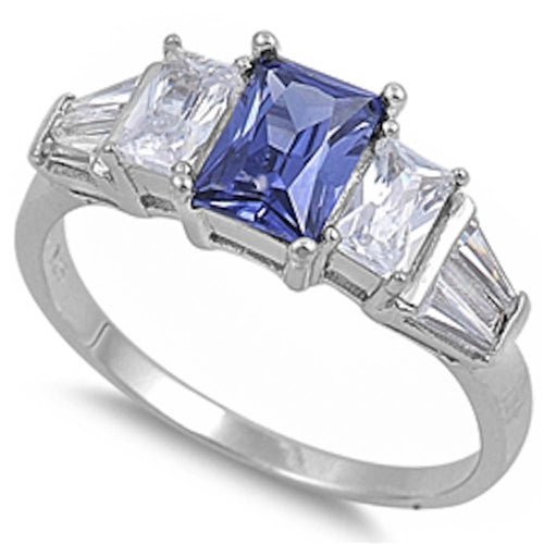 Tanzanite & Cz .925 Sterling Silver Ring Sizes 5-9