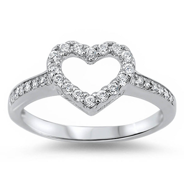 Open Heart Cz Accent Ring.925 Sterling Silver Sizes 4-12
