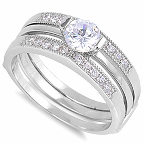 Pave-set Cubic Zirconia Wedding Ring .925 Sterling Silver Sizes 6-10
