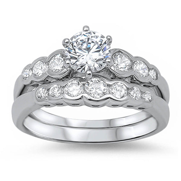 Bridal Style Cubic Zirconia Ring .925 Sterling Silver Sizes 5-11