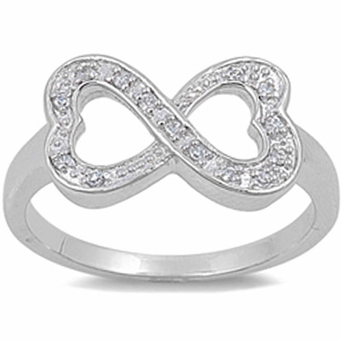 Cubic Zirconia Heart Infinity .925 Sterling Silver Ring Sizes 5-10