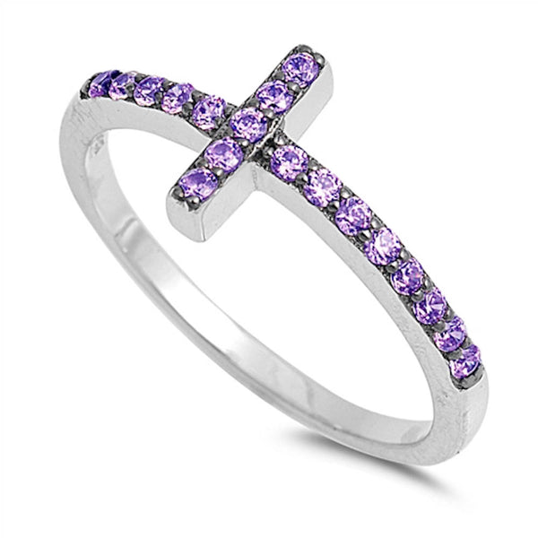 Amethyst Sideways Cross .925 Sterling Silver Ring Sizes 4-10