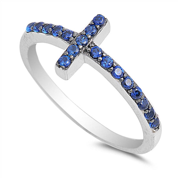 Blue Sapphire Sideways Cross .925 Sterling Silver Ring Sizes 4-10