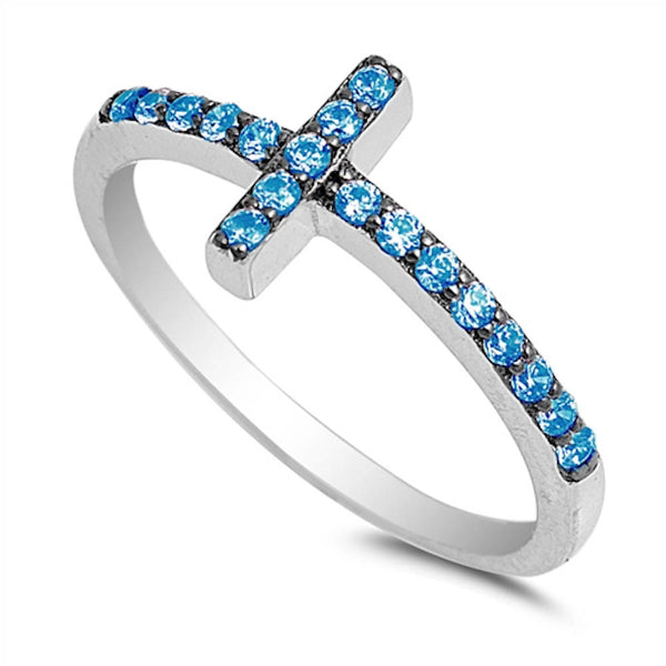Blue Topaz Sideways Cross .925 Sterling Silver Ring Sizes 4-10