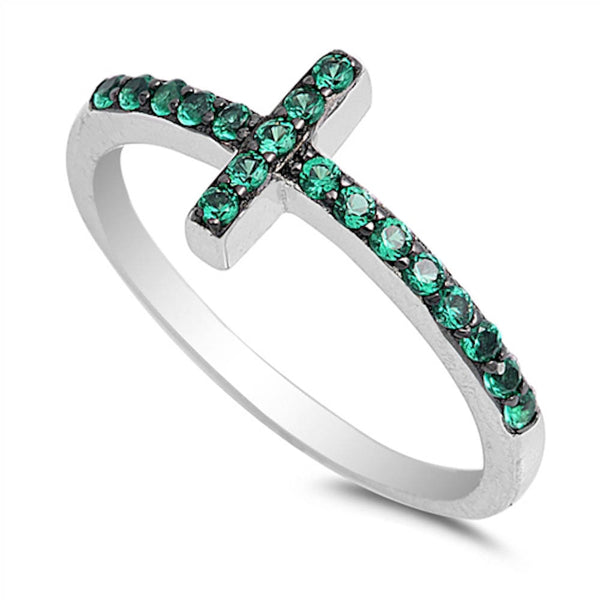 Emerald Sideways Cross .925 Sterling Silver Ring Sizes 4-10