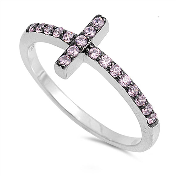 Pink Sideways Cross .925 Sterling Silver Ring Sizes 4-10