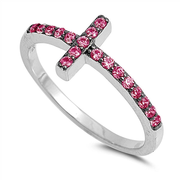 Ruby Sideways Cross .925 Sterling Silver Ring Sizes 4-10