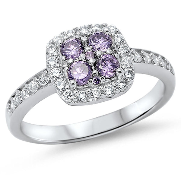 Cubic Zirconia & Amethyst Halo Engagement Ring .925 Sterling Silver Sizes 5-10