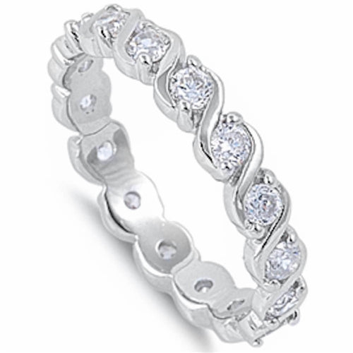 Cubic Zirconia Twist Band .925 Sterling Silver Sizes 5-9