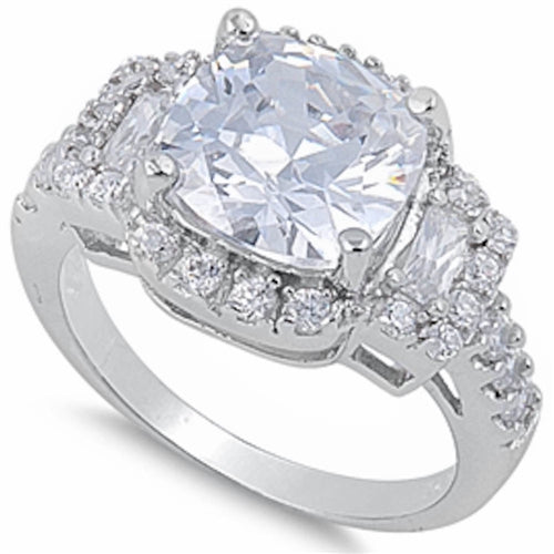 Cushion-cut Cubic Zirconia Fashion Ring .925 Sterling Silver Sizes 6-10