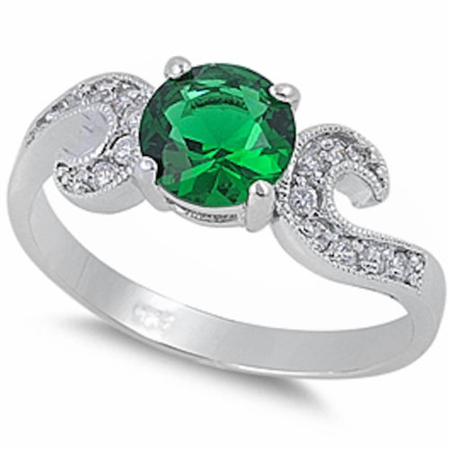 Elegant Emerald Swirl .925 Sterling Silver Ring Sizes 5-9