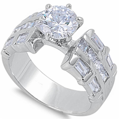 Round & Baguette Cz .925 Sterling Silver Ring Sizes 6-9