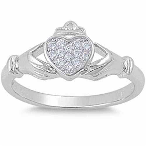 Pave set Cz Irish Claddagh .925 Sterling Silver Ring Sizes 5-10