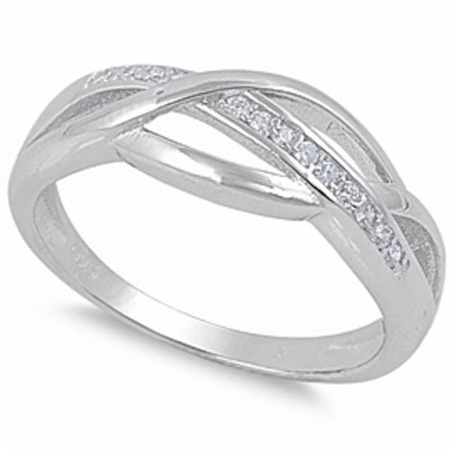 Intertwined Band with Cz Accents .925 Sterling Silver Sizes 5-10