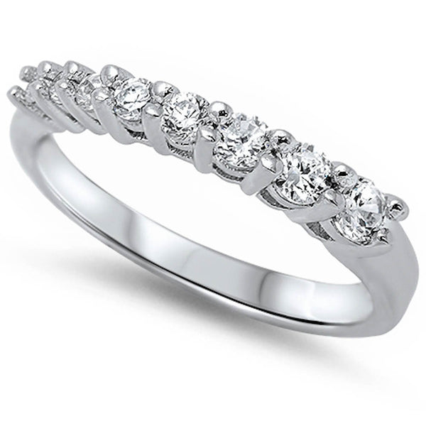 Prong-set Cubic Zirconia Ring .925 Sterling Silver Sizes 5-10
