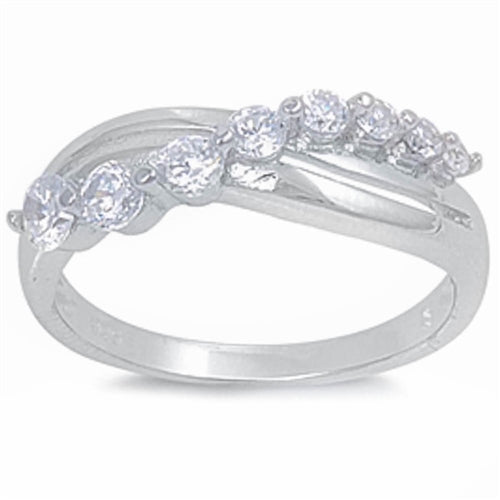 Bypass Engagement Ring with Cubic Zirconia .925 Sterling Silver Sizes 5-10
