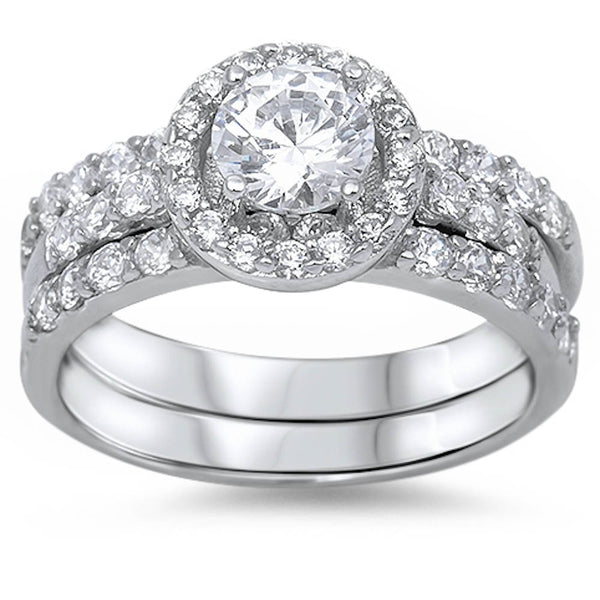 Bridal Style Halo Ring with Cubic Zirconia .925 Sterling Silver Sizes 5-10
