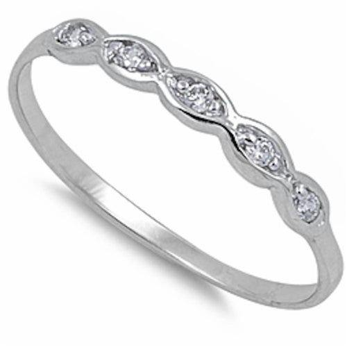 .925 Sterling Silver Cubic Zirconia Band Sizes 1-10