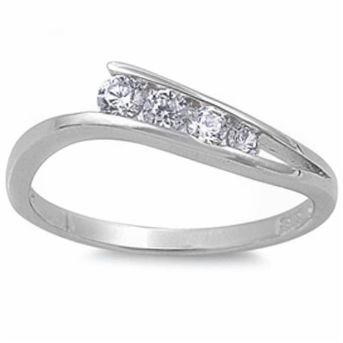 Four Cubic Zirconias .925 Sterling Silver Ring Sizes 5-10