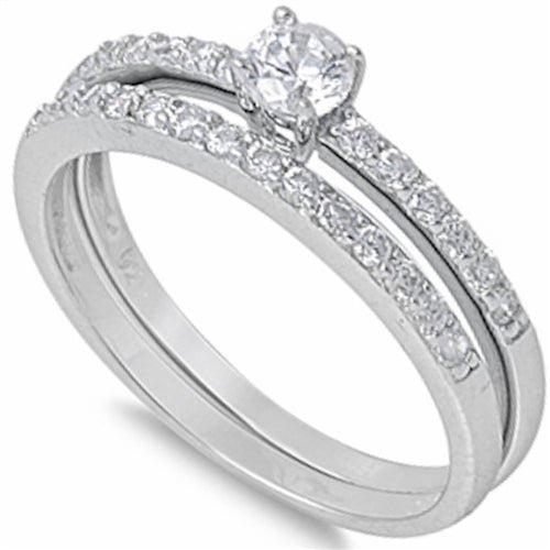 Classic Cubic Zirconia Bridal Ring .925 Sterling Silver Sizes 5-10