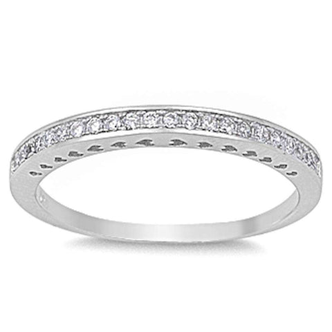 Round Cz Eternity Band .925 Sterling Silver Ring Sizes 4-10