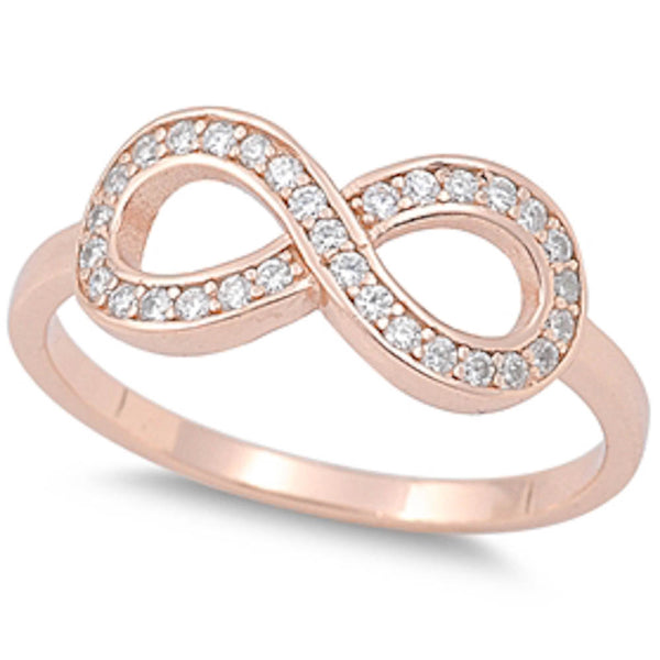 Rose Gold Plat-ed Cz Infinity  .925 Sterling Silver Ring Sizes 5-10
