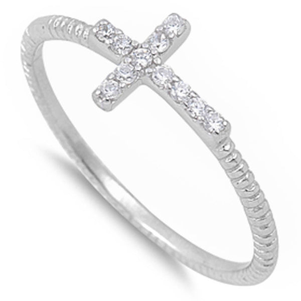 Cz Cross .925 Sterling Silver Ring Sizes 4-10
