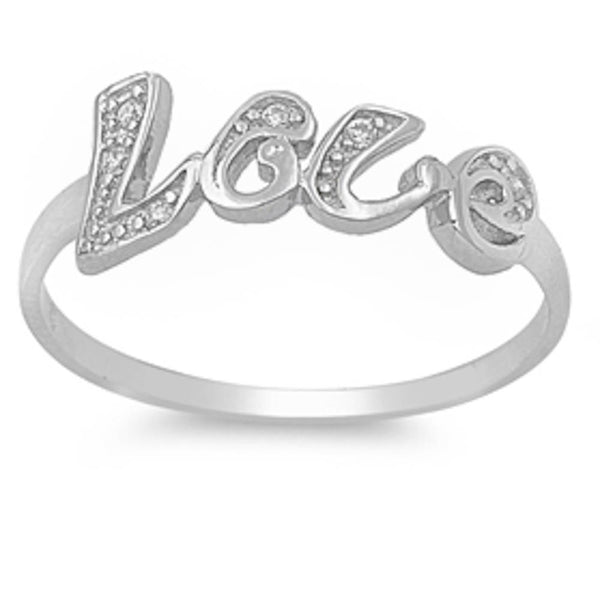 'Love' Clear Cz .925 Sterling Silver Ring Sizes 4-9