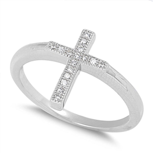 Sterling Silver Cubic Zirconia Cross Ring Sizes 5-9