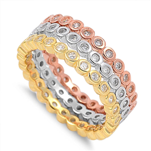 Sterling Silver Rhodium, Yellow and Rose Gold Plated Ring Sizes 5-10