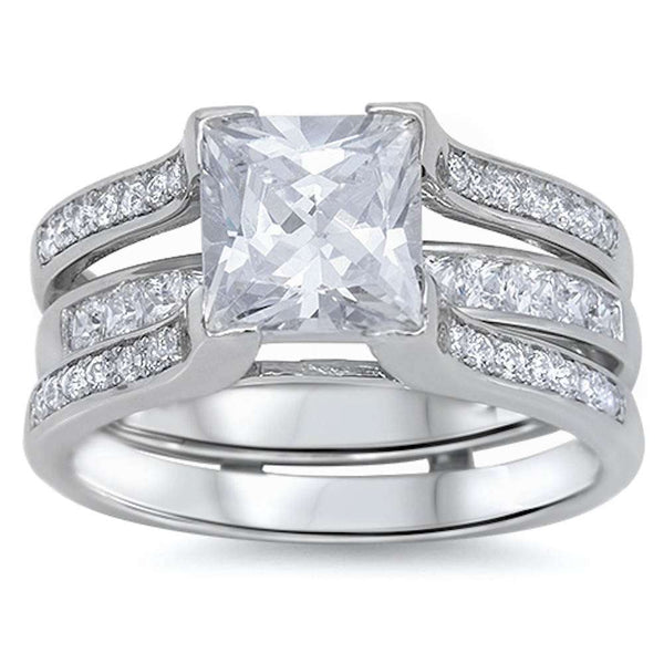 4.50ct Princess & Round CZ 3 Rings Bridal Set .925 Sterling Silver Ring sizes 4-12
