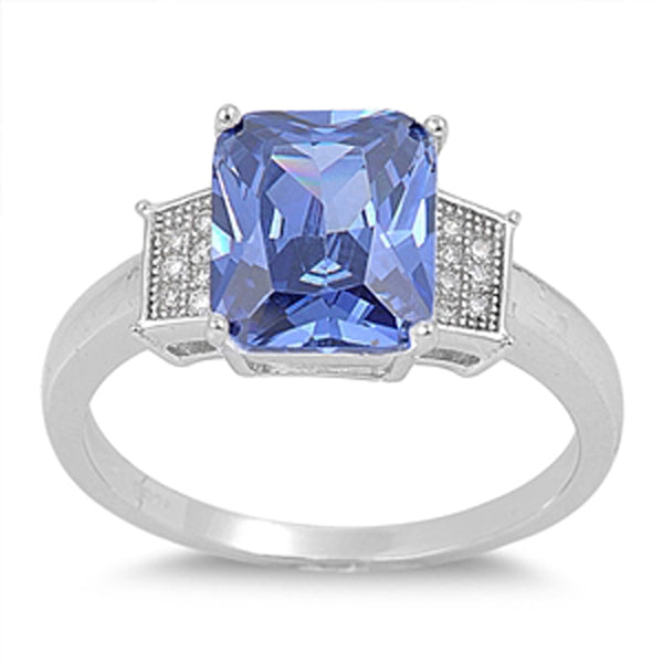 Sterling Silver Emerald-cut Tanzanite Cz Engagement Ring Sizes 5-9