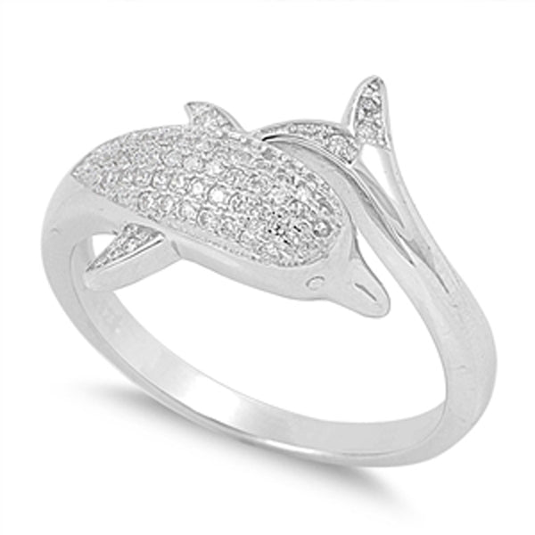 Sterling Silver Cubic Zirconia Dolphin Ring Sizes 5-10