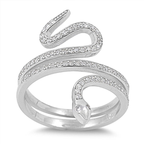 Sterling Silver Cubic Zirconia Snake Ring Sizes 6-10