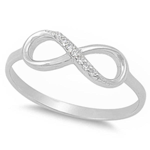 Solid Clear Cz Infinity .925 Sterling Silver Ring Sizes 5-9