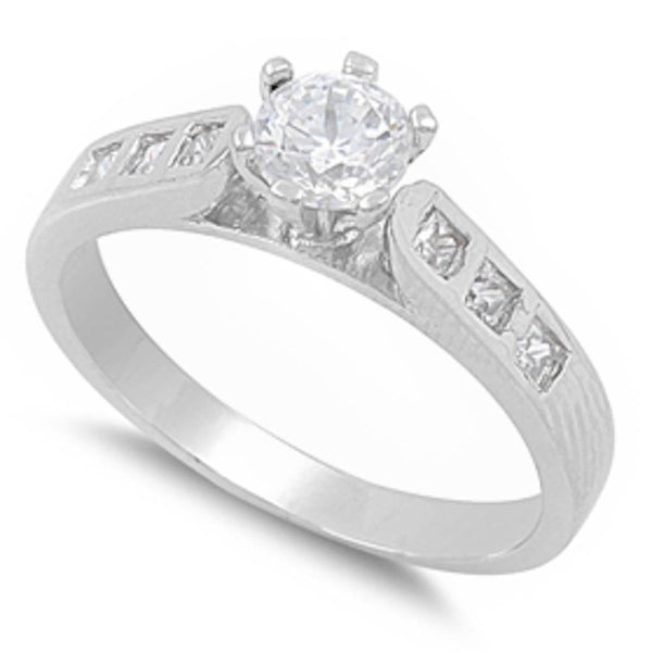 Engagement With Three Small Side Cz Stones .925 Sterling Silver Ring Sizes 5-10