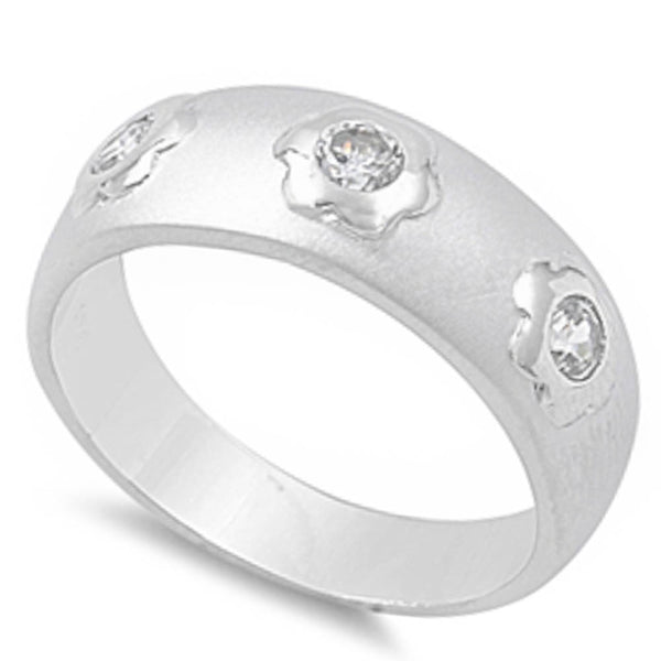 Cz Round Band .925 Sterling Silver Ring Sizes 5-10