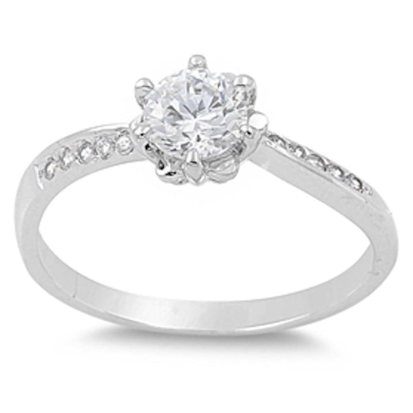 Engagement Round Cz Center Stone .925 Sterling Silver Ring Sizes 5-10