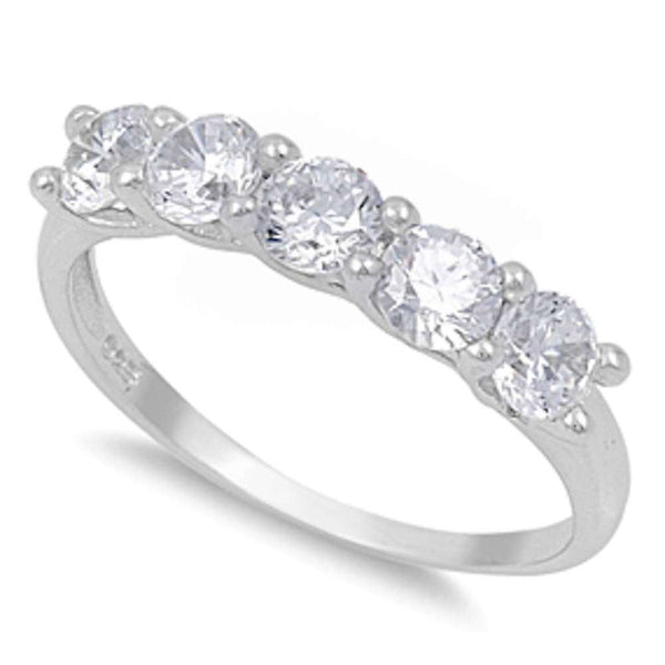 1.25CT 5 Round Cz Fashion Promise .925 Sterling Silver Ring Sizes 4-10