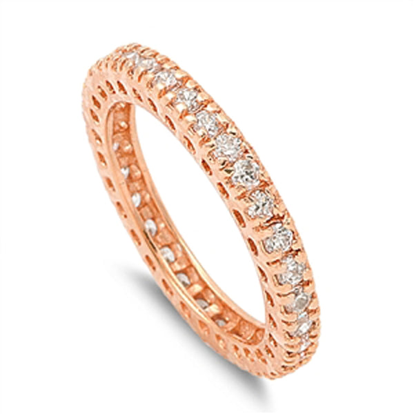 Prong-set Cz Rose Gold Plated .925 Sterling Silver Ring Sizes 5-10