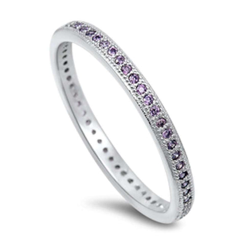 Amethyst Eternity Wedding Band .925 Sterling Silver Ring Sizes 4-10