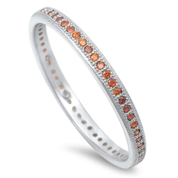 Garnet Eternity Wedding Band .925 Sterling Silver Ring Sizes 4-10