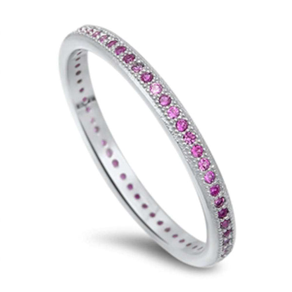 Ruby Eternity Wedding Band .925 Sterling Silver Ring Sizes 4-10