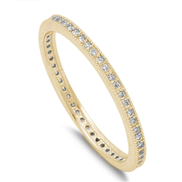 Yellow Plated Cubic Zirconia Eternity Wedding .925 Sterling Silver Band Sizes 5-10