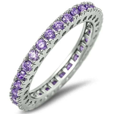 Eternity Wedding Band Amethyst Gemstone .925 Sterling Silver Band 5-10