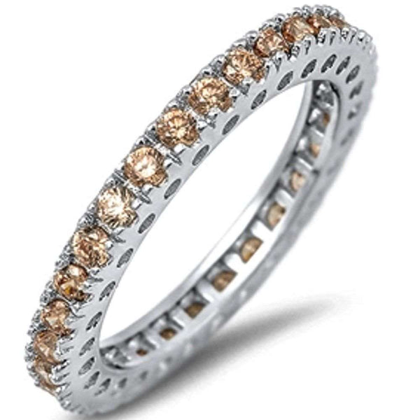 Eternity Wedding Band Champagne Gemstone .925 Sterling Silver Band 4-12