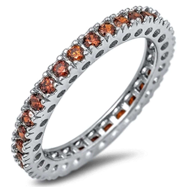 Eternity Wedding Band Garnet Gemstone .925 Sterling Silver Band 4-12