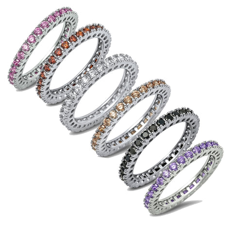 5 Colors Eternity Band Pink Cubic Zirconia, Champagne Cubic Zirconia, Black Onyx, Garnet, Amethyst .925 Sterling Silver Ring Sizes 4-12